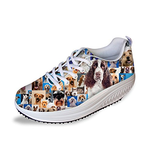 FOR U DESIGNS Stylish Women's Swing Platform Shoes Mesh Trainers Fitness Running Sneakers US 11