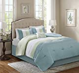 Comfort Spaces – Windsor Comforter Set- 5 Piece – Aqua, Green, Off-White – Pintuck pattern – Full/Queen size, includes 1 Comforter, 2 Shams, 1 Decorative Pillow, 1 Bed Skirt