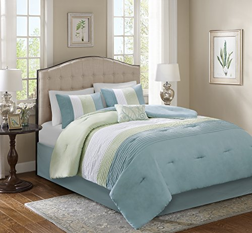 Comfort Spaces – Windsor Comforter Set- 5 Piece – Aqua, Green, Off-White – Pintuck pattern – Full/Queen size, includes 1 Comforter, 2 Shams, 1 Decorative Pillow, 1 Bed Skirt (Comfort Sets)