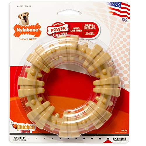 Nylabone Ring Power Chew DuraChew Toy for Large Dogs, Chicken