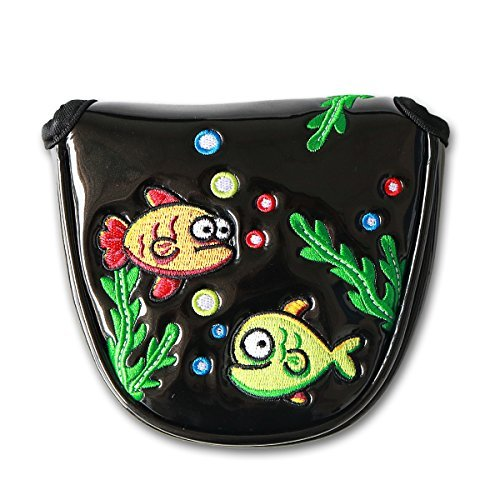 Craftsman Golf Creative Cute Funny Lovely Fish Black Magnetic Heel Shaft Golf Mallet Putter Club Cover Headcover ()