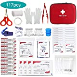 Small Mini First Aid Kit, 117 Pieces Hard Case First Aid Kit Includes Emergency Foil Blanket, CPR Face Mask, Security Whistle for Home, Travel, Office, Workplace, Child Care, Hiking, Survival&Outdoor