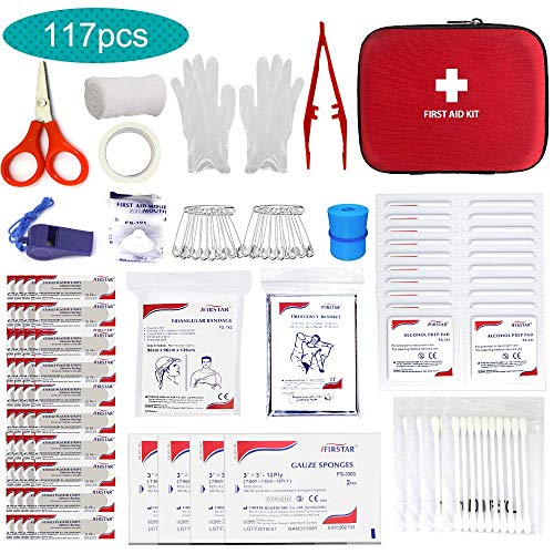 Small Mini First Aid Kit, 117 Pieces Hard Case First Aid Kit Includes Emergency Foil Blanket, CPR Face Mask, Security Whistle for Home, Travel, Office, Workplace, Child Care, Hiking, Survival&Outdoor by LAS