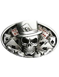 Original Dice Skull Tattoo Poker Casino Oval Vintage Belt Buckle
