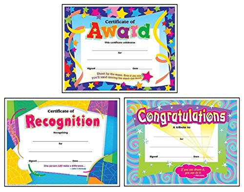 Colorful Award Certificates for Students and Professionals: Certificate of Award, Certificate of Recognition, Congratulations Certificate | Set of 3, Each Contains 30 Per Pack, 8.5 Inch x 11 - Recognition Templates Certificate