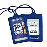 AllerMates Food Allergies Customizable Kids Medical ID Tags Set - Blue