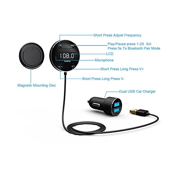 Lumsing Bluetooth 40 In Car Kit Adapter Hands Free Wireless Calling Streaming Dongle LCD FM Transmitter 10W USB Charger Mounts Microphone
