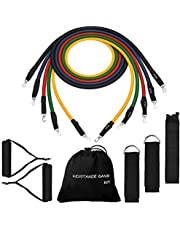 TOPELEK Exercise Resistance Bands Set,  [Upgraded Version] Fitness Resistance Bands Set with 5 Fitness Tubes, Handles, Door Anchor, Ankle Straps, Carrying Pouch, Workout Guides for Men Women