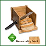 Bamboo Bread Slicer Guide By Bamboo Panda - Easily Flat Fold for Comfortable Storage, Perfect for Bread, Homemade Bread & Loaf Cakes