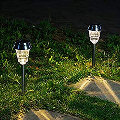 Stainless Steel Solar Lights Warm White LED Path Light Waterproof 8-Pack for Outdoor Garden Pathway Driveway