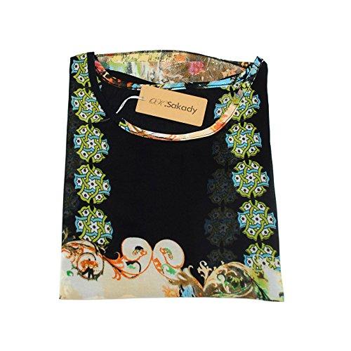 Size shirt 3 4 Per Plus T 30 Oksakady Boho Donne Tunica Chiffon Doman Batwing Manica 5tSBqna