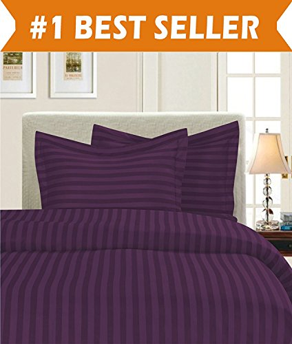 Luxury 3-Piece Striped Duvet Cover Set! - 1500 Thread Count Egyptian Quality Silky-Soft Wrinkle Resistant DAMASK STRIPE Duvet Cover Set, Full/Queen, Eggplant/Purple (Full Duvet Queen Cover Purple)