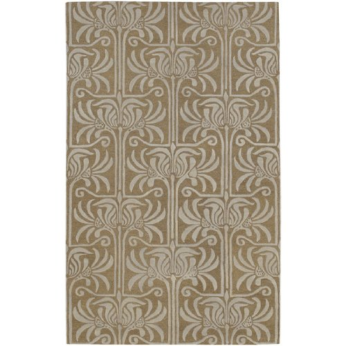 CC Home Furnishings 9' x 13' Floral Column Dark Taupe and Driftwood Brown Wool Area Throw ()