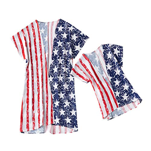 Mommy Me Women's Summer Printing Stars Family Clothes USA Flag Dress 4th of July Red Maoyou