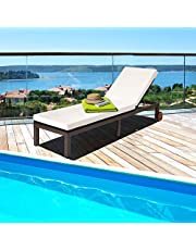 DORTALA Outdoor Pool Chaise Lounge Chair, Metal Rattan Lounger Recliner Chair W/Wheels, Folding Wicker Chaise Chair W/ Cushioned Seating, Recliner 5-Position Adjustable for Garden, Patio, Poolside, Beige