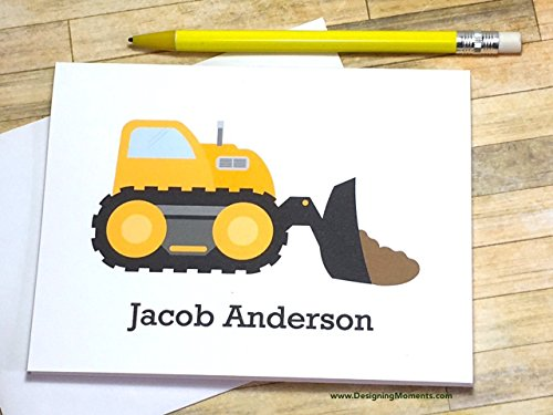 (Bulldozer Boys Personalized Stationery Set - Construction Cards for Kids - Thank You Cards - Yellow Bulldozer Truck Card)