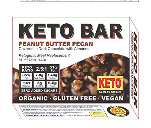 Keto Bars – Organic Vegan Peanut Butter Pecan Covered in Dark Chocolate with Almonds – Ketogenic Meal Replacement Bar – Organic – Gluten Free – Vegan! 5-Pak