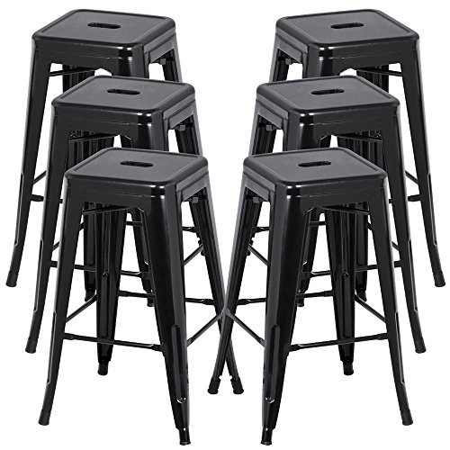 Topeakmart 6PCs 26-inch Backless Metal Steel Bar Stools Indoor-Outdoor Vintage Antique Style with Square Seat Black (Outdoor Metal Bar Stools compare prices)