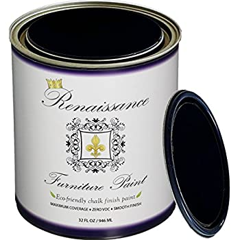 Renaissance Chalk Furniture & Cabinet Paint Qt - Non Toxic, Eco-Friendly, Superior Coverage - Midnight Black (32oz)