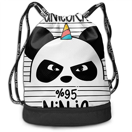 - Girls Boys Drawstring Bag Theft Proof Lightweight Beam Backpack, Swim Shoulder Backpack - Funny Unicorn Panda Ninja Black White Stripes Water Resistant Backpack Soccer Basketball Bag
