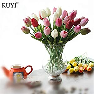 ShineBear 12pcs Real Touch pu Mini Tulip Flower Wedding Flowers Bouquet Artificial Silk Flower for Home Party Decoration Gift 64