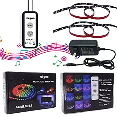 Music DreamColor LED Strip Lights Built-in IC, 6.6ft/2m LED Lights Sync to Music, Waterproof RGB Rope Light with Single Wire Controller, Flexible Strip Lighting, LED Tape Lights