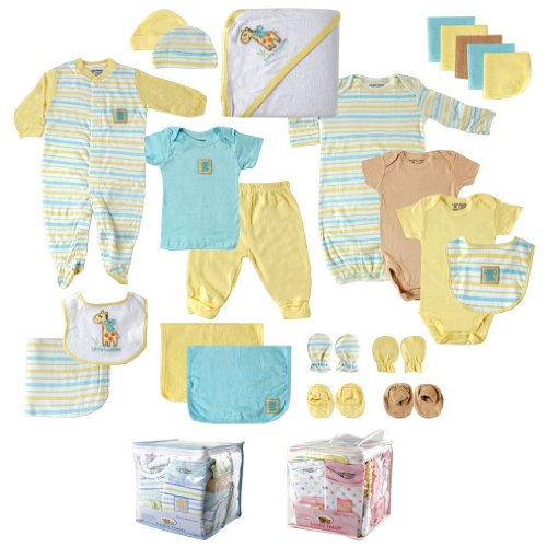 Luvable Friends Unisex Baby Gift Cube, Yellow Giraffe, 24-Piece Set, 0-6 Months ()