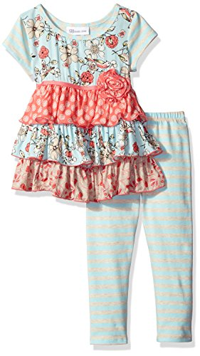 Bonnie Jean Little Girls' Toddler Multi Pattern Print Challis Tiered Legging Set, Blue, 4T Bonnie Blue Patterns
