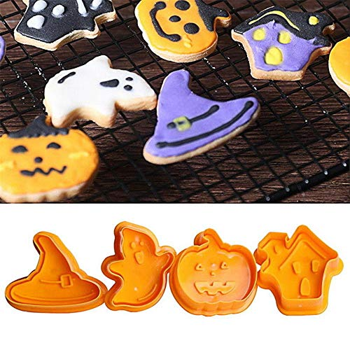 TRYAH 4 Pieces Halloween Shaped Cookie Cake Plunger Cutter Set,Fondant Cutter Cake DIY Tools,Best Modelling Tools For Holiday Party Wedding And -