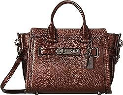 COACH Women's Pebbled Coach Swagger 15 DK/Deep Coral Handbag