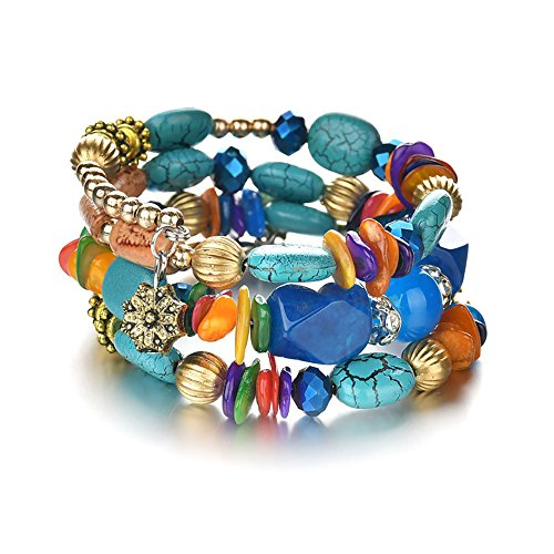 MIXIA Boho Multilayer Irregular Agate Beads Charm Bracelets for Women Vintage Jade Stone Man Bracelets Yoga Bangles Ethnic Jewelry (Colorful)