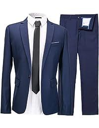 Traje de 2 piezas para hombre un botón único breasted Slim Fit Dress Suit Chaquetas y pantalones