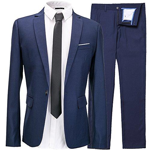 Men's 2-Piece Suit One Button Single Breasted Slim Fit Dress Suit Jackets & Trousers