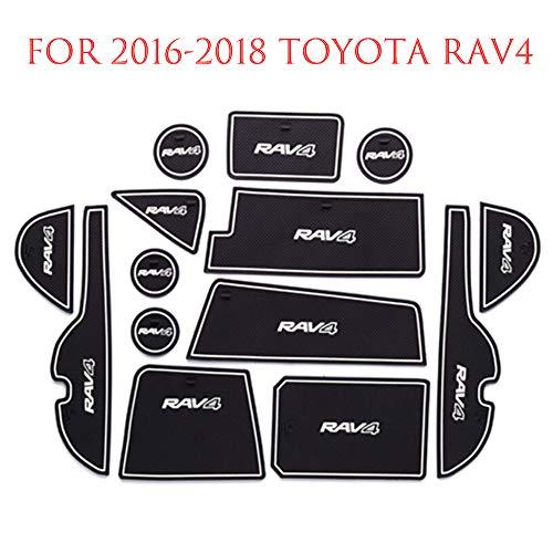 Door Slot Mat for Toyota RAV4, Latex Interior Door Mat Cup Mat, Non-slip Car Interior Door Slot Pad, Automotive Decoration Door Compartment Liner Accessories for Toyota Rav4 2016-2018 14pcs Luminous