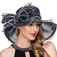 Kentucky Derby Hats for Women Organza Fascinator Church Tea Party Dress Wedding Hat
