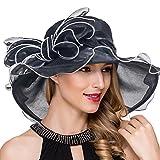 Womens Wide Brim Kentucky Derby Church Dress Fascinator Tea Party Organza Hat (Black)