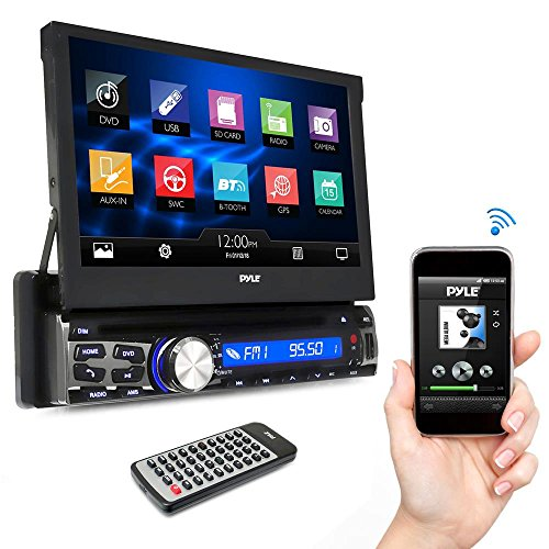 Pyle Single DIN In Dash Car Stereo Head Unit w/ 7inch Flip Out Touch Screen Monitor - Audio Video Receiver System with Microphone, Radio, Bluetooth, CD DVD Player, MP3, USB, (Screen Unit)