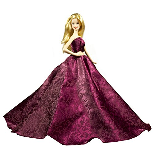 - Strapless Red Purple Silk Gown with Elegant Vine Voliet Gown Fits For Barbie Doll