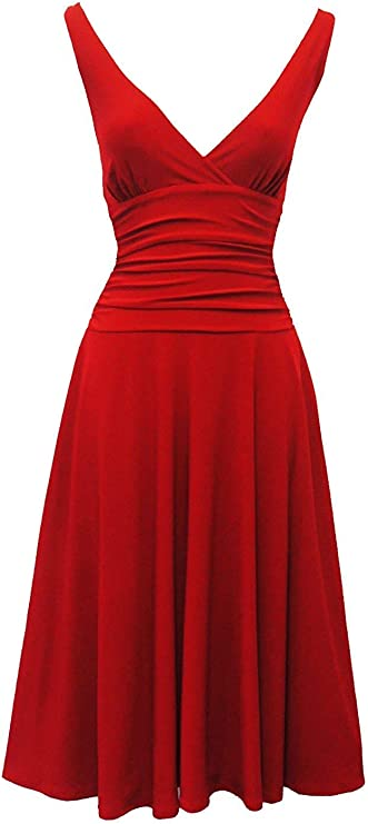 1940s Dresses and Clothing UK | 40s Shoes UK Red Rosa Rosa Jane VTG 1950s Rockabilly Pin Up Party Salsa Swing Prom Dress £14.99 AT vintagedancer.com