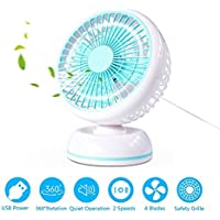MYUS 7 Inch USB Desk Fan Quiet Table Fan Personal Fan with Retractable 3.3ft USB Cable (360° Horizontal Rotation, 2 Speeds, USB Powered ONLY) for Baby Room Office Home