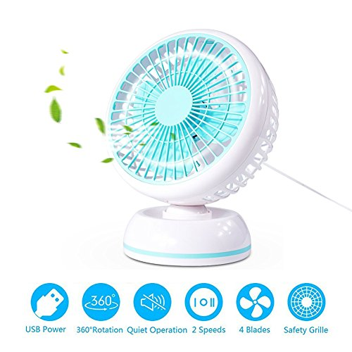MYUS 7 Inch USB Desk Fan Quiet Table Fan Personal Fan with