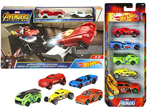 (Iron Launcher Race Avengers Assemble Hot Wheels Marvel Exclusive Team 5-Pack Bundle Infinity War Iron Man Armor-Up Launcher Playset Tony Stark Vehicle 2 Items Captain America / Hulk / Thor)