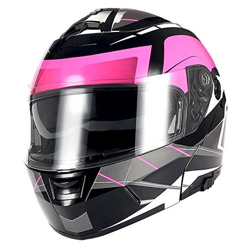 1Storm Motorcycle Modular Full Face Helmet Flip up Dual Visor/Sun Shield Racing Pink - Max Full Face Modular Helmet