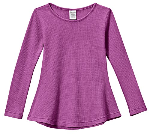City Threads Big Girls' Thermal Long Sleeve Tunic Shirt Tee Dress for School Party Play, Plum, 2T