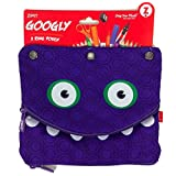 Googly 3 Ring Binder Double Pouch Pencils and Pen Case - Purple by ZIPIT