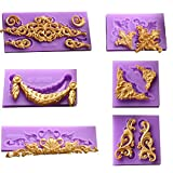 ( 6 in Set)Baroque Style Curlicues Scroll Lace Fondant Silicone Mold for Sugarcraft, Cake Border Decoration, Cupcake Topper, Jewelry, Polymer Clay, Crafting Projects By Palker sky
