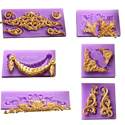 ( 6 in Set)Baroque Style Curlicues Scroll Lace Fondant Silicone Mold for Sugarcraft, Cake Border Decoration, Cupcake Topper, Jewelry, Polymer Clay, Crafting Projects By Palker sky - Baroque Border