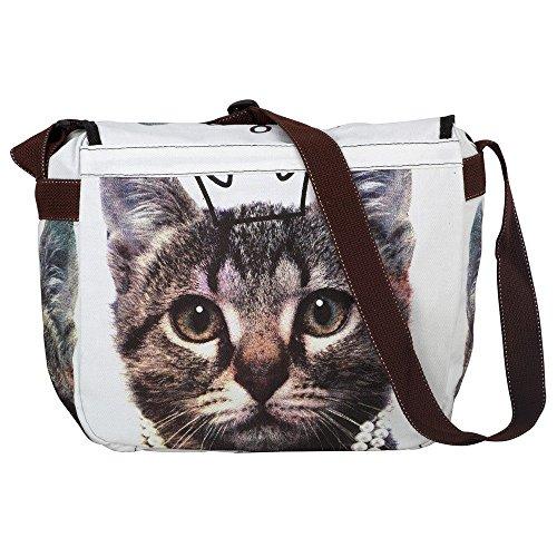 Unisign - Maxi borsa a tracolla motivo gatto gatta messenger bag donna