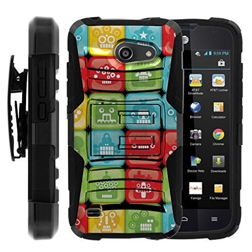 TurtleArmor | Huawei Tribute Case | AT&T Fusion 3 Case [Hyper Shock] Armor Solid Hybrid Cover Stand Impact Silicone Holster Belt Clip Robot Android Design - Blocked Robot Heads by TurtleArmor