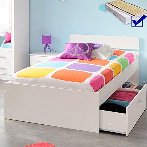 Kinderbett 90x200cm weiß, Jugendbett mit Bettkasten, Stauraumbett Gästebett, Inaco 20, Jugendzimmer Kinderzimmer Gästezimmer